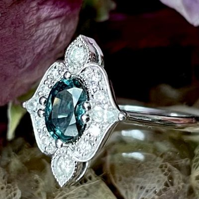 Delilah Antique Style Diamond Halo Ring