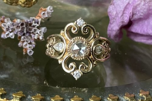 Luna Ring with Rose Cut Champagne Diamond in 14k Gold