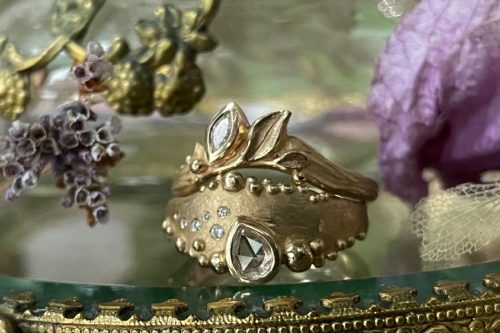 Petite Rising Tide Ring and Leafy crown Ring in 14k Gold and Diamonds